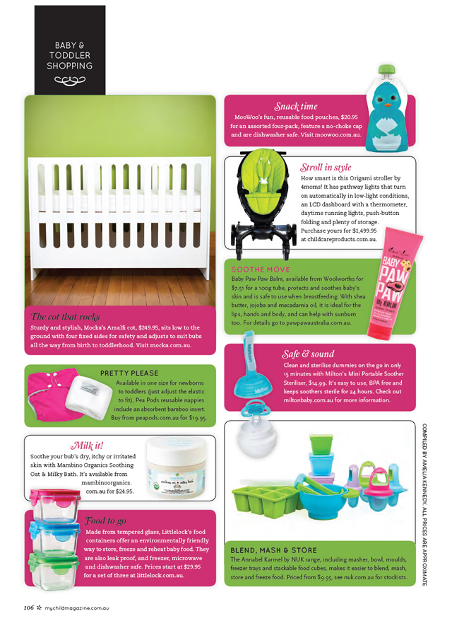 Mocka Amalfi Cot recently featured in My Child Magazine